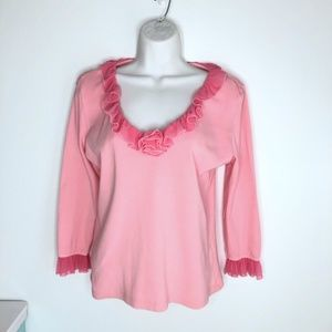 Barbara Lesser Pink Chiffon  Ruffle 3/4 Sleeve L